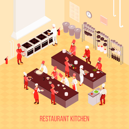 Restaurant kitchen isometric composition in beige tones with chefs, tables for preparation, ovens, trash containers vector illustration