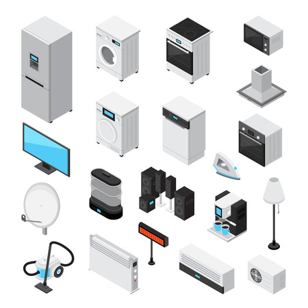 Household appliances isometric set with iron, tv, microwave, refrigerator, stove, mixer, blender, coffee machine, air conditioning, heating fume hood, isolated  realistic icons vector illustration