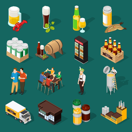 Beer isometric decorative icons set of mug wineglasses  keg box with bottle dried fish and brewing plant vector illustration