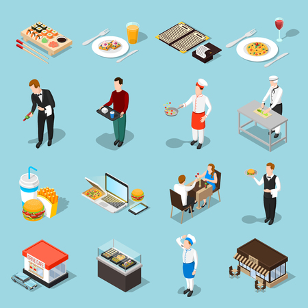 Fast food isolated icons set waiter cook guests and meals of quick cooking isometric shadow vector illustration Illustration