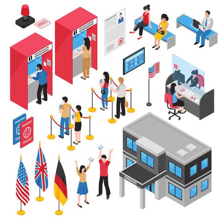 孤立したアイソメ大使館ビザセンターアイコンを設定する人との人々はあなたのビザベクターイラストを申請します