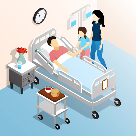 People in hospital isometric design concept with family members visiting sick  relative flat vector illustration