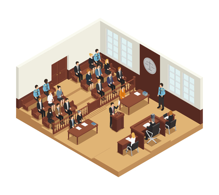 Law justice criminal trial courtroom proceedings with judge jury witness stand and audience isometric composition vector illustration