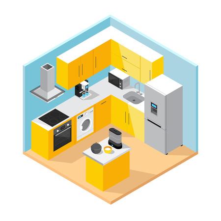 Modern keuken interieur isometrisch concept met meubels set huishoudelijke apparaten en keukengerei.