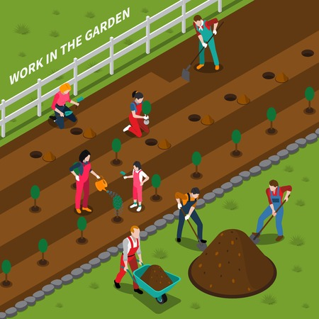 Gardening isometric composition with rural landscape and young people involved in planting seedlings vector illustration Illustration