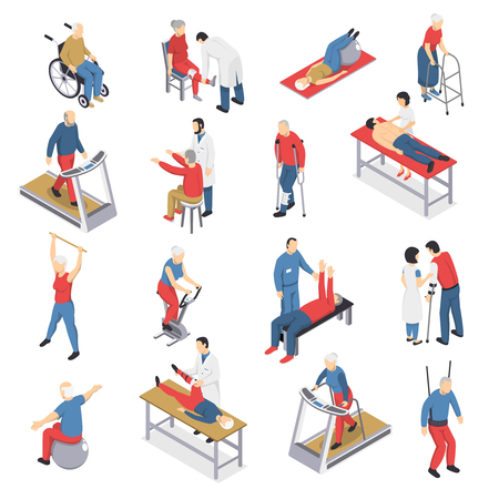 Rehabilitation physiotherapy isometric icons collection with people exercising on ball and moving walkway travelator isolated vector illustration Vectores