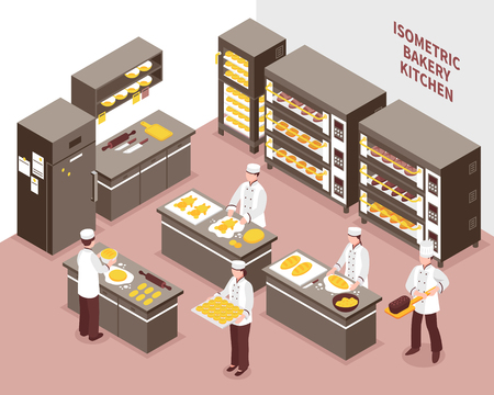 Five bakers working in spacious bakery kitchen 3d isometric vector illustration  イラスト・ベクター素材