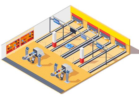 Bowling club isometrische interieur met gaming tracks, retoursysteem, planken met pinnen en ballen.