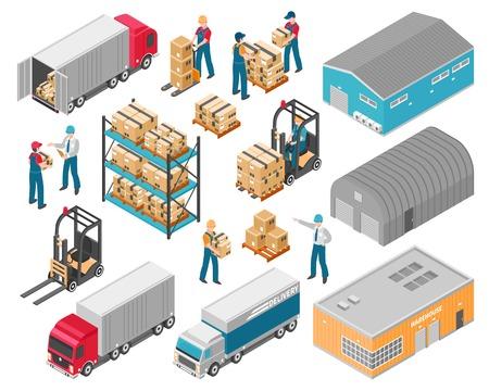 Zestaw ikon logistycznych na białym tle izometryczny magazynu z ciężarówkami do budowy magazynu i ilustracji wektorowych ładunku