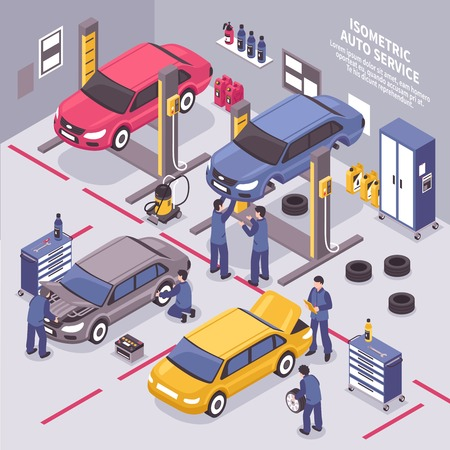 Workers fixing cars and changing tyres in auto service center 3d isometric vector illustration Ilustração