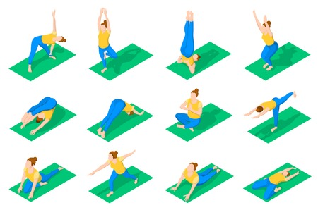 Fitness and gymnastics exercises isometric colored icons with people in yoga poses on green mat isolated vector illustration Illustration