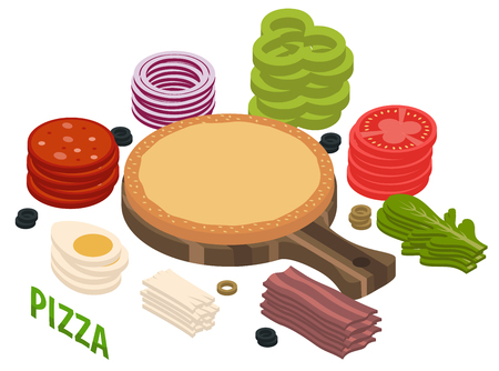 Pizza isometric composition including dough with sesame on cutting board, vegetables, egg, meat, mozzarella, arugula vector illustration Illustration