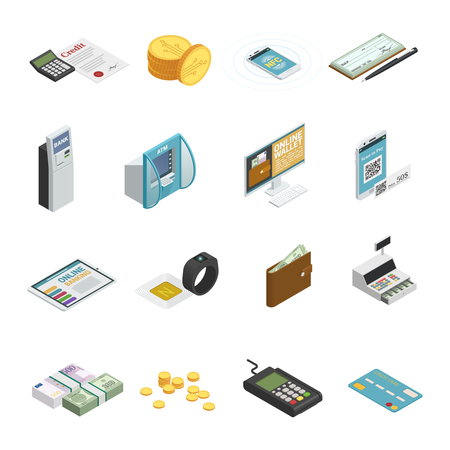 Payment methods isometric icons collection with cash banknotes coins credit bank cards and smartphones. Illustration