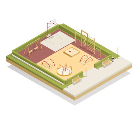 Kids playground isometric mockup with carousel and swings, basketball ring, sandbox and climbing frames, benches vector illustration