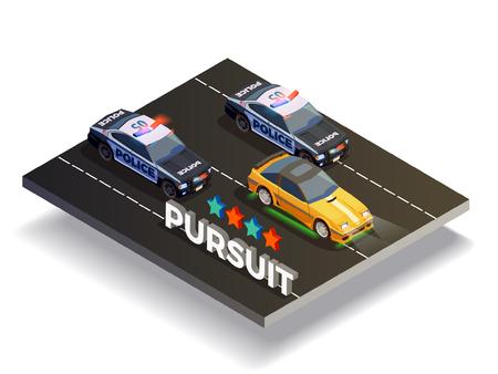 ストリートレーシング高速のレース車とベクトル図で追求されている警察車でドリフト等尺性組成物 写真素材 - 85545680