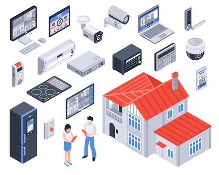 Isolé et maison intelligente icône de jeu de maison avec des éléments numériques et des outils pour votre vie illustration vectorielle Banque d'images - 85336257