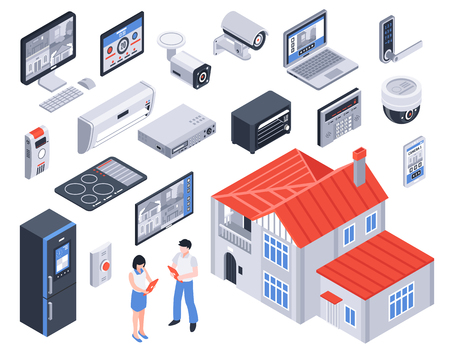 Isolated and isometric smart home icon set with digital elements and tools for better life vector illustration Ilustrace