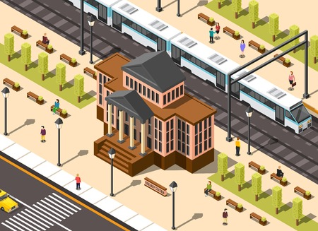 Government building isometric composition of classic architecture railway station and urban environment with high-speed train vector illustration
