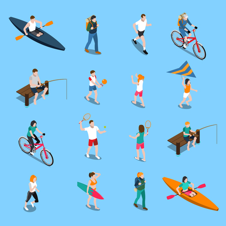 Isolated summer outdoor activity people icon set with attributes and equipment for recreation vector illustration 向量圖像