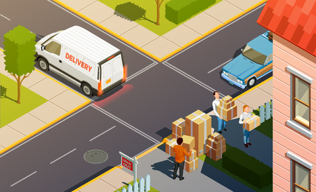 Moving people isometric urban composition with delivery service car and agents carrying goods in carton boxes. Illustration