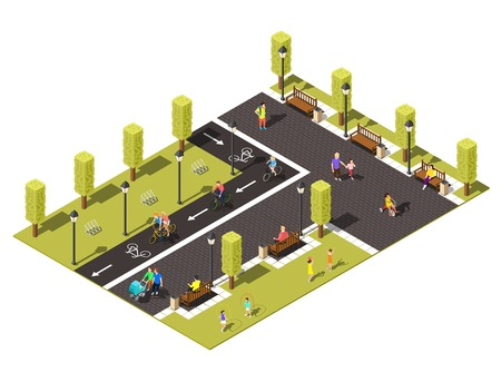 Modern town park isometric composition with  people walking with children and riding bicycle on bike path vector illustration Stock Illustratie