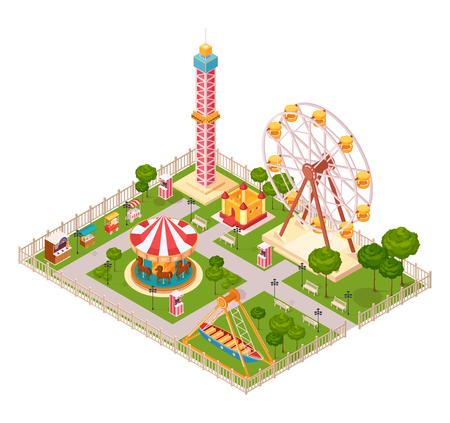シーソーの観覧車のカルーセルおよび極度な家族の引力による遊園地の設計概念は漫画のベクトルイラストを  イラスト・ベクター素材