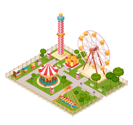 Amusement park  design concept with seesaw ferris wheel carousel and extreme family attraction isometric elements cartoon vector illustration