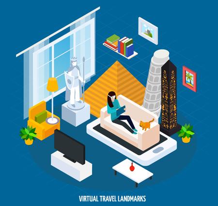 Coloridos viajes virtuales marcos museo concepto isométrico con museo de visita mientras está sentado en casa en sofá ilustración vectorial Foto de archivo - 85487746