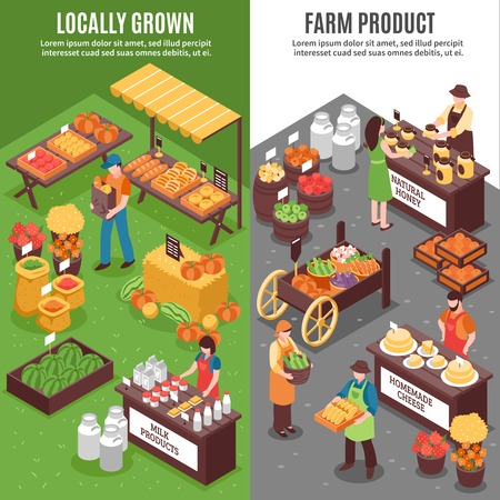 Market vertical banners set with isometric compositions of organic funfair locally grown natural farm products sale vector illustration Çizim