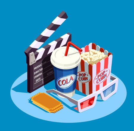 Objects for watching movie at cinema and clapper isometric icon set on blue background 3d vector illustration