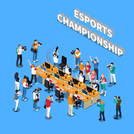 コンピューター記者カメラマンと青い背景ベクトル図にカメラマンの近くのプレイヤーと e スポーツ選手権等尺性組成物