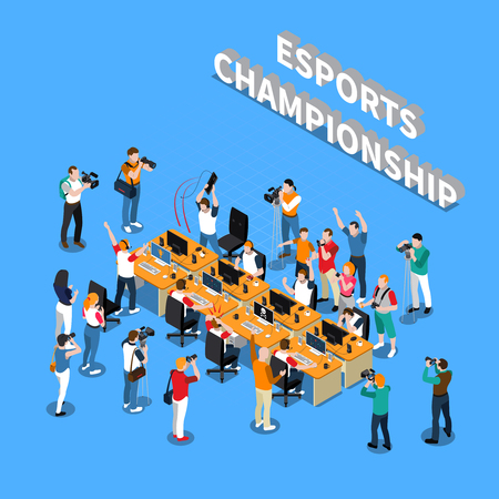 Esports championship isometric composition with players near computers reporters photographers and cameramen on blue background vector illustration