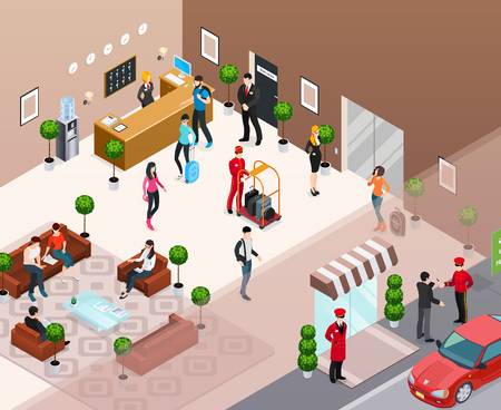 Hotel interior with doorman at hotel entrance reception staff and guests in hotel hall isometric  vector illustration
