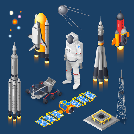 Space isometric set with rocket and satellite on blue background isolated vector illustration Ilustrace