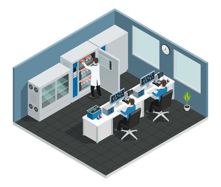 Het wetenschappelijke isometrische concept van de laboratoriumwerkplaats met materiaal voor onderzoek en wetenschappers die de vectorillustratie van het computerscherm bekijken