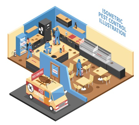 Pest control in cafe design with car workers with equipment parasites on interior elements isometric vector illustration