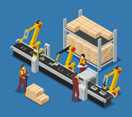 Electronics factory isometric composition with robotic conveyor line of touchscreen phones staff and package boxes vector illustration