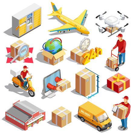 Delivery icon isometric set of sixteen isolated images with packaging concepts vehicles and automated parcel locker vector illustration