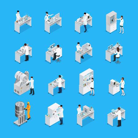 化学実験室の作業ベンチ家具設備と科学者による孤立した16のアイコンのセットアイソメ図