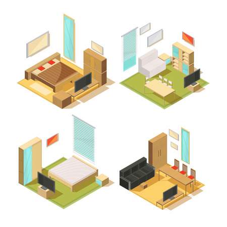 living room window: Set of isometric compositions of living room interior furniture with sofas wardrobes mirrors chairs tables and tv vector illustration