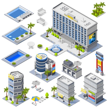 Luxury hotel buildings isometric icons set with palm trees and pools full of blue water  isolated vector illustration Illustration