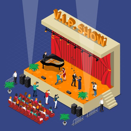 Vip show isometric design with celebrities and admirers on scene with spotlights audience and photographers vector illustration