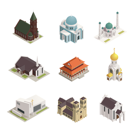 World religions buildings isometric icons set with orthodox church catholic cathedral temple synagogue mosque isolated vector illustration Illustration