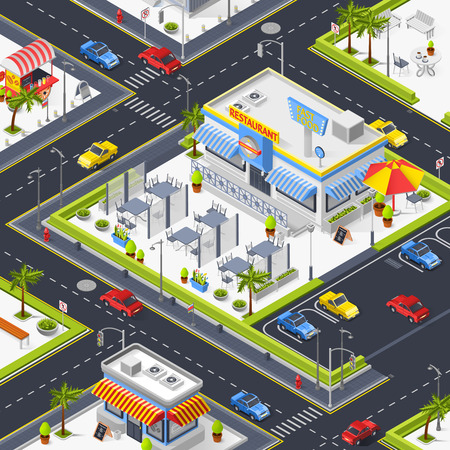 Fragment of city landscape with  street restaurant set of fast food tents outdoor tables and car parking isometric vector illustration