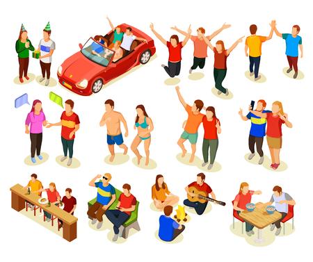 Tienervrienden die pret hebben isometrische samen geplaatste pictogrammen op witte vectorillustratie als achtergrond