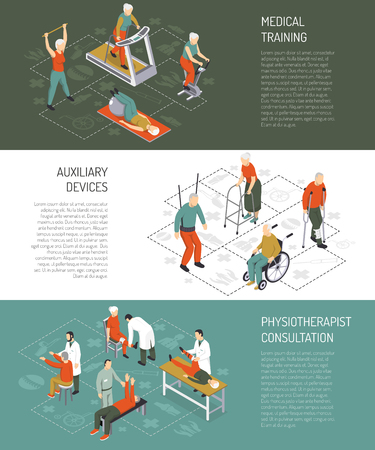 Rehabilitation isometric horizontal banners with medical training auxiliary devices physiotherapist consultation design compositions vector illustration