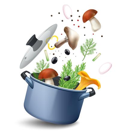냄비와 잘 익은 재료의 현실적인 이미지와 버섯 수프 구성 딜 양파 링과 올리브 벡터 일러스트