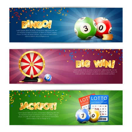Set of three lottery horizontal banners with bulletin tickets bingo balls drawing machine and editable text vector illustration Ilustração