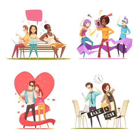 People listening music compositions including couple, business persons during rest, admirers on bench, teenagers, isolated vector illustration