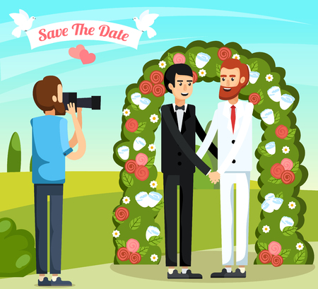 Flat colored wedding people orthogonal composition with two men in love are married vector illustration